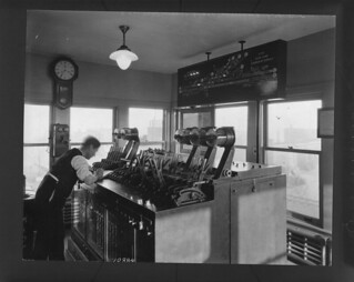 Interior of the Canadian Pacific Railway switch control station at Glen Yard / La cabine du poste d'aiguillage de la société Canadian Pacific Railway à Glen Yard
