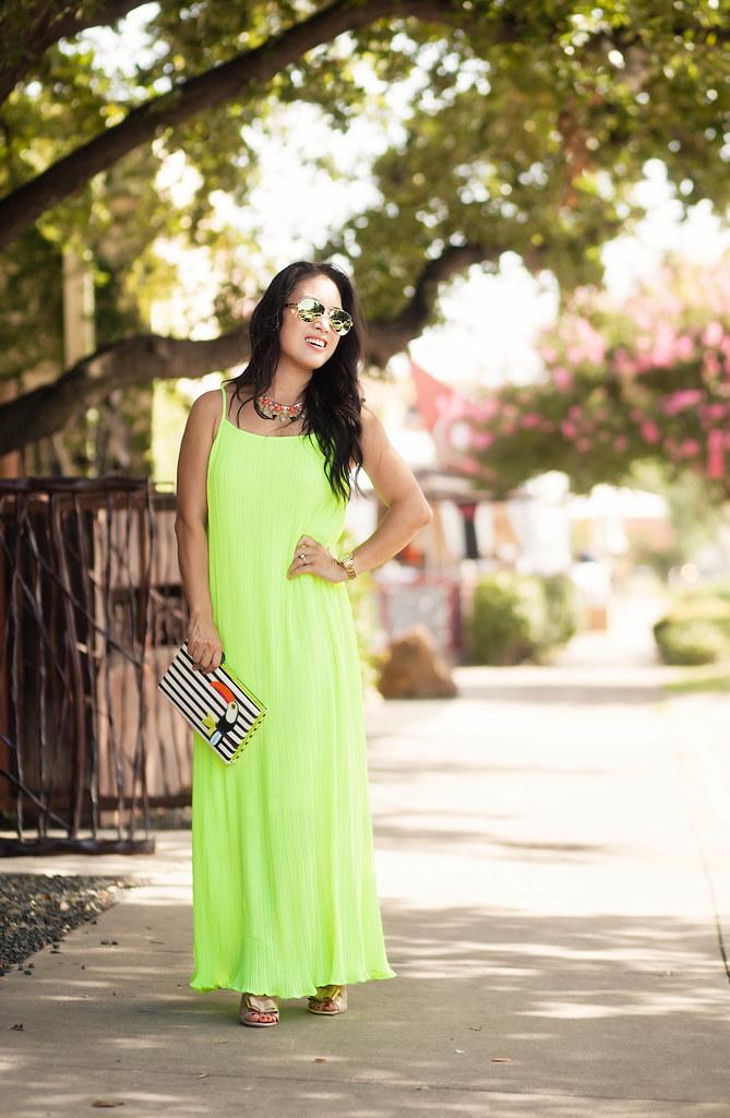 cute & little blog | petite fashion | yellow pleated chiffon maxi dress, kate spade toucan clutch, green mirror aviators, rocksbox necklace | summer outfit