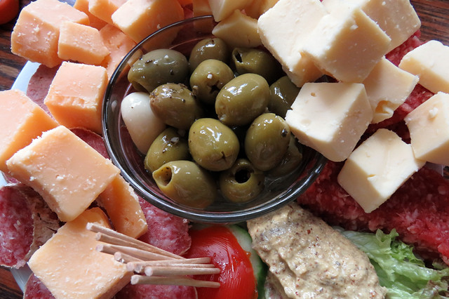 A mixed snack plate at Café 't Smalle, a 'Brown Café' which is what they call historic pubs in Amsterdam, Holland