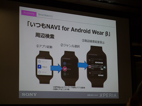 Xperia アンバサダー ミーティング スライド : いつも NAVI for Android Wear β なら、Smart Watch 3 で現在位置の周辺施設検索ができます