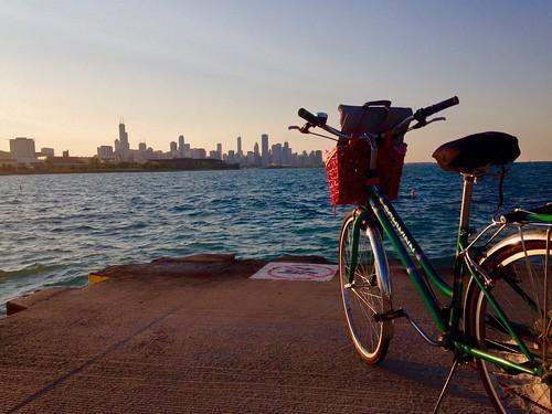 sunset lake chicago bike bicycle skyline lakemichigan lakeshore schwinn lakefront goldenhour