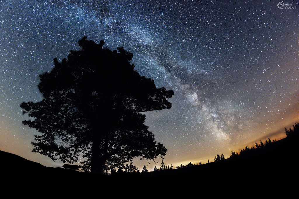 Milky Way over Gruň - Czech Republic