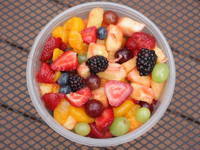 strawberries, green and red grapes, blackberries, pineapple, mandarin oranges