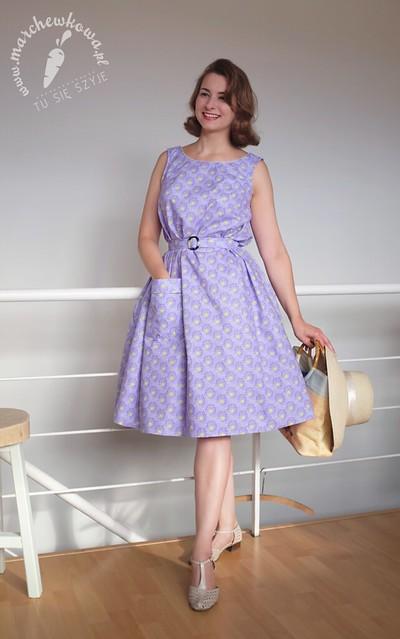 blog, marchewkowa, szycie, krawiectwo, handmade, diy, sewing, sukienka namiotowa, tent dress, retro, vintage, 50s, 60s, pattern, wykrój, beyer mode