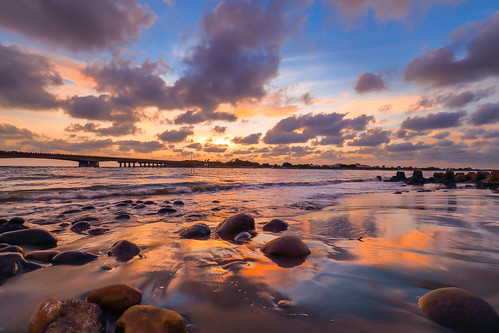 bridge sunset sea summer sky cloud color reflection beach water beautiful rock skyline clouds canon reflections landscape colorful dusk taiwan wideangle 夕陽 tainan 台灣 雲 海 台南 6d 1635 wideanglelens 河 雲彩 海邊 安平 四草大橋 四草 晨昏 canon6d 夕彩