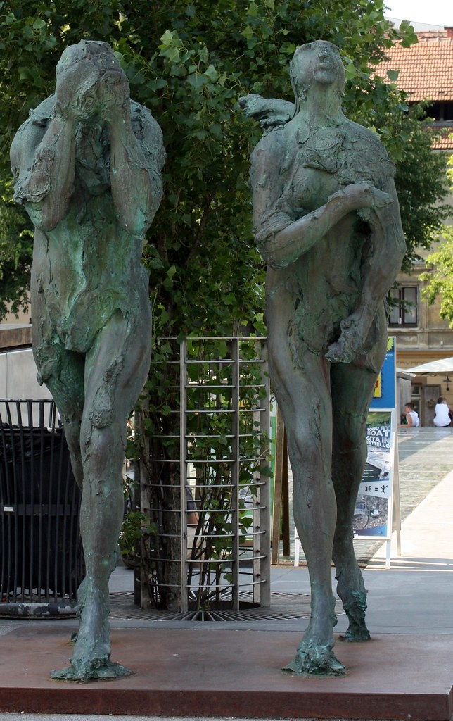 Mand and Woman statues Ljubljana Slovenia