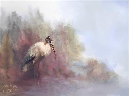 Image of Wood Stork on painted background