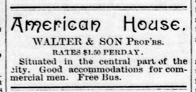 1889 - American House hotel - Enquirer - 20 Jul 1889