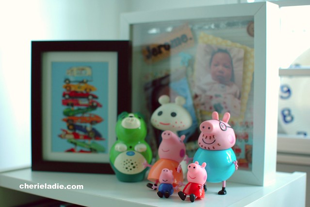 Picture frame of cars, a collage frame of Jerome as a baby & a family of Peppa Pig.