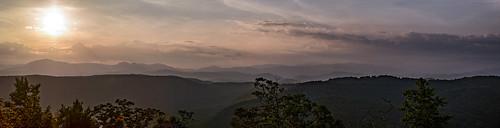 blue sunset mountains south ridge carolina sassafras