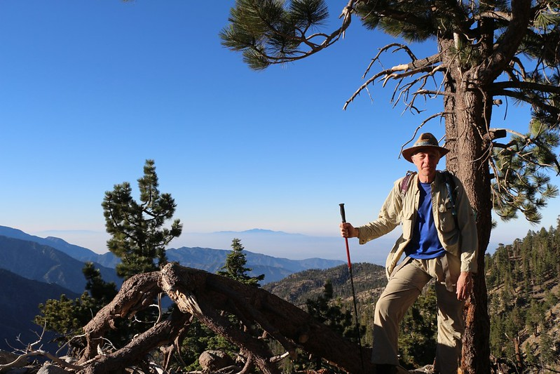 Me hiking in the early morning on the the PCT east of Throop Peak