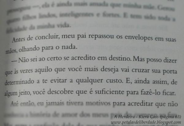 Resenha, quote, trecho, livro, A Herdeira, Kiera Cass, A Seleção, Editora Seguinte