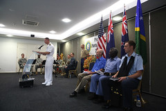 Capt. James Meyer delivers remarks during the opening ceremony for Pacific Partnership 2015 in the Solomon Islands. (U.S. Marine Corps/Sgt. James Gulliver)