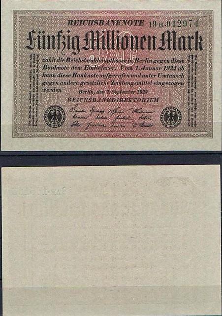 50 Miliónov nemeckých mariek Nemecko 1923, Pick 109