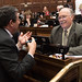 Rep. Tim LeGeyt, right, speaks with Rep. Mike Alberts (R-50) during session in the House Chamber.