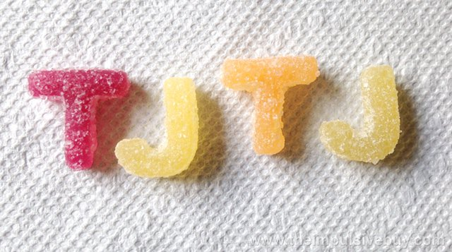 Trader Joe's Sour Gummies Ts & Js Closeup