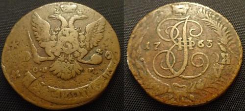 1763 SPB 5 Kopecks Overstruck
