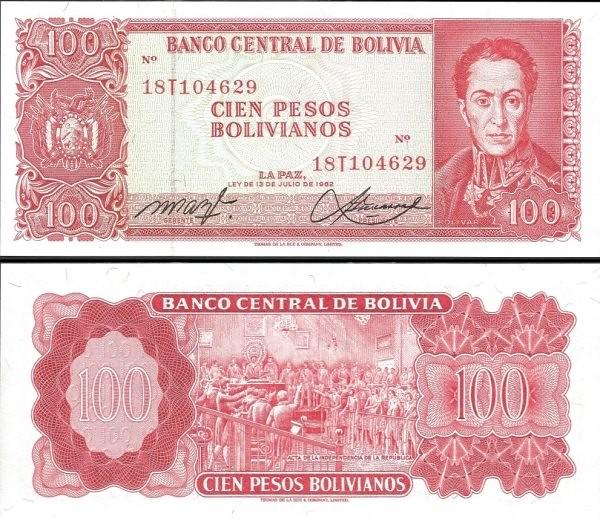 100 Pesos Bolivianos Bolívia 1962, Pick 164A