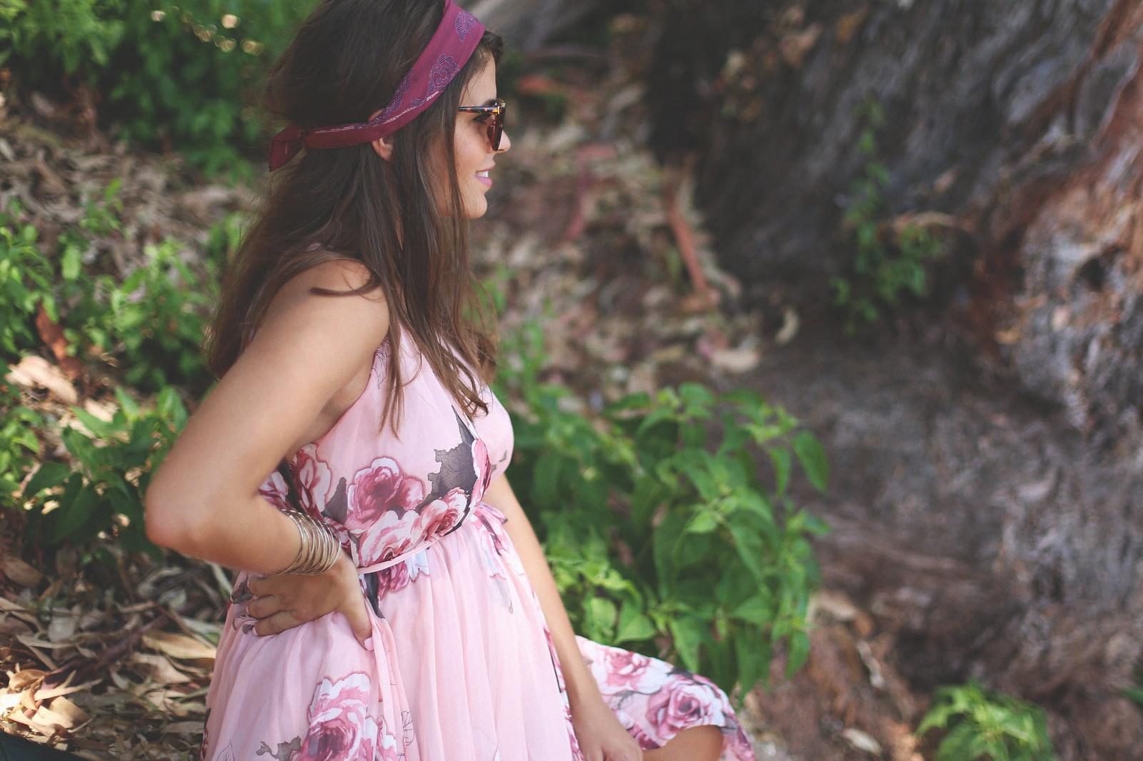5. floral print long dress - jessie chanes - pregnancy
