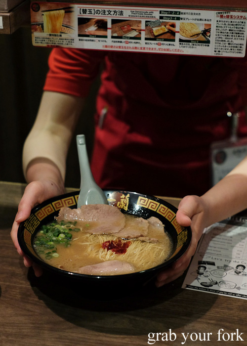 Tonkotsu ramen being served at Ichiran, Hakata, Fukuoka, Japan