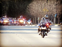 Procession in honor of a fallen officer,