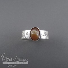 Custom Sterling Silver Diamond Sky Mountain Range Lake Superior Agate Engagement Ring