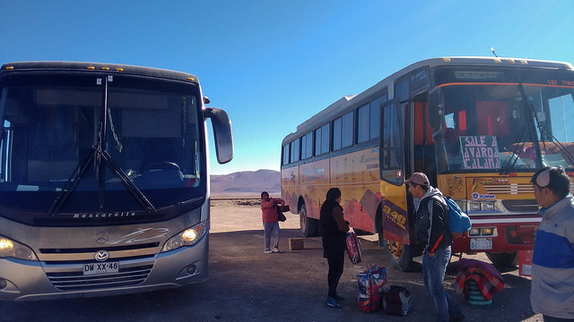 Changing bus after crossing into Bolivia