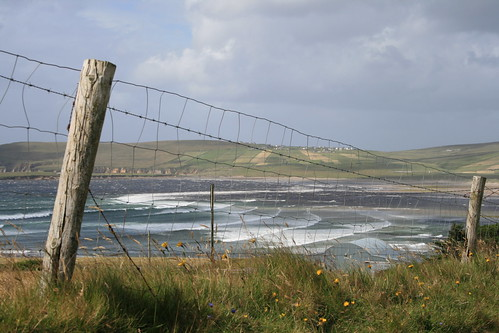 ireland sea clouds fence landscape wire view countymayo broadhaven