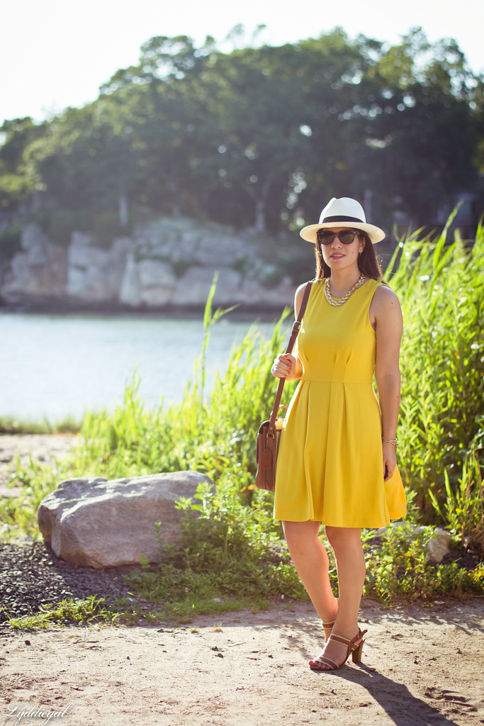 yellow dress, panama hat, summer outfit-4.jpg