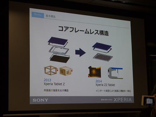 Xperia アンバサダー ミーティング スライド : Xperia Tablet Z から Xperia Z2 Tablet への軽量化技術