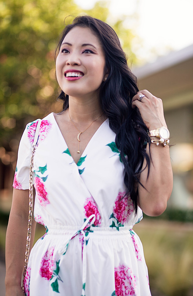 cute & little blog | petite fashion | white pink floral lace romper, baublebar moon crescent pave necklace | spring summer outfit