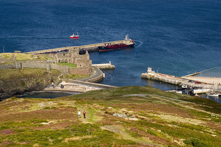 Peel Castle and Harbour, from Peel Hill, Isle of Man