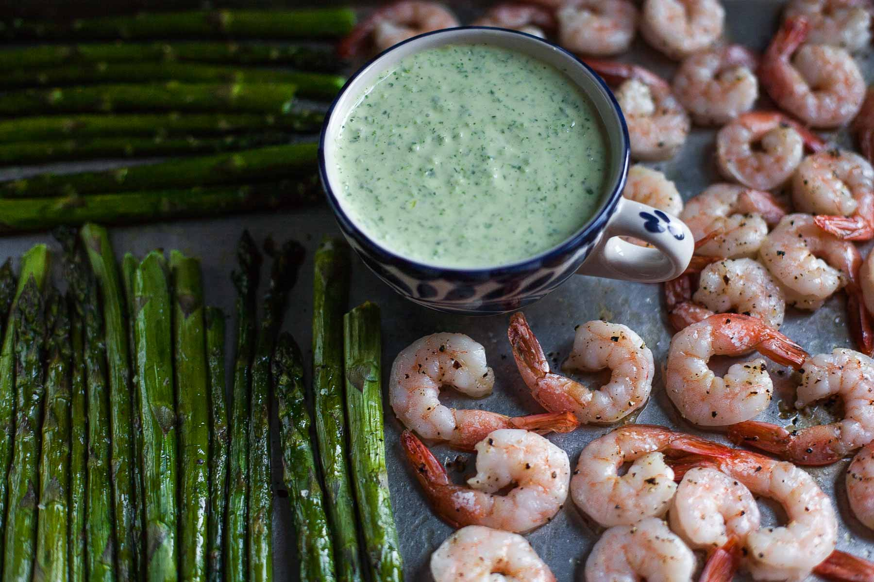 Top 15 Paleo Recipes of 2015--Roasted Shrimp and Asparagus with Green Goddess Dressing (Whole30) | acalculatedwhisk.com
