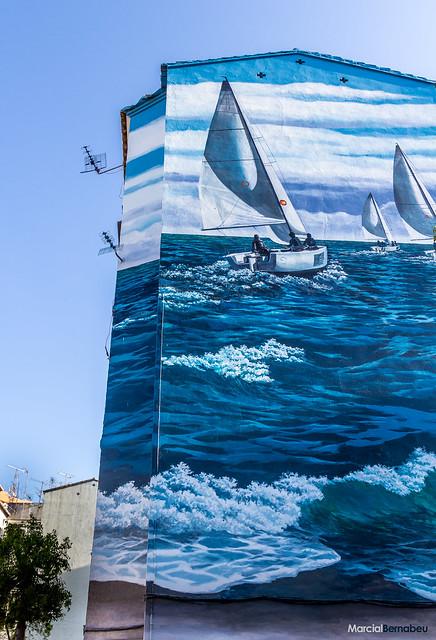 Spain - Malaga - Fuengirola - Mural Painting - Sea race