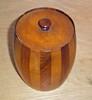 Vintage Inlaid Wood Striped English Cigar Humidor - Barrel Shaped Art Deco Style