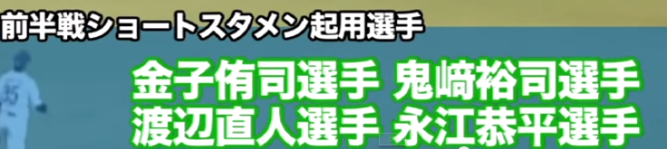 前半戦ショートスタメン起用選手は金子侑司選手、鬼崎裕司選手、渡辺直人選手、永江恭平選手