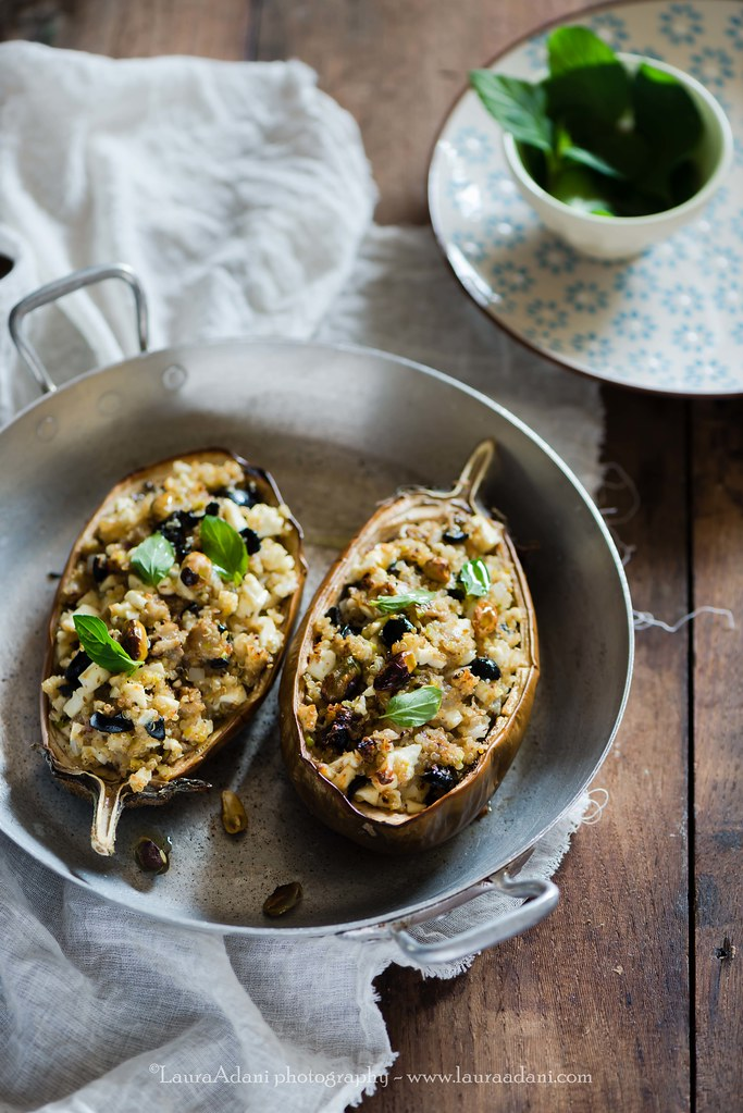 stuffed aubergines with quinoa and goat cheese
