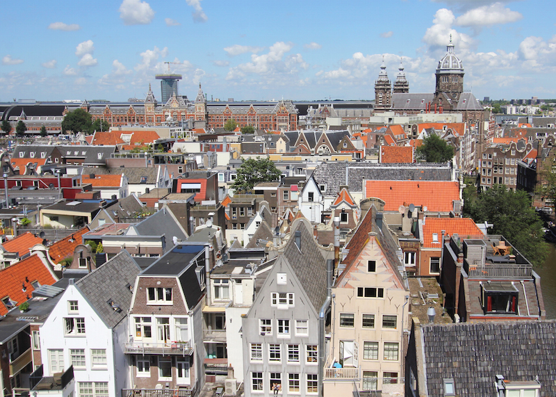 View overlooking Amsterdam city center from Oude Kerk Amsterdam Taturo Aztu