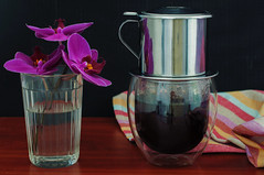 Vietnamese coffee and orchid