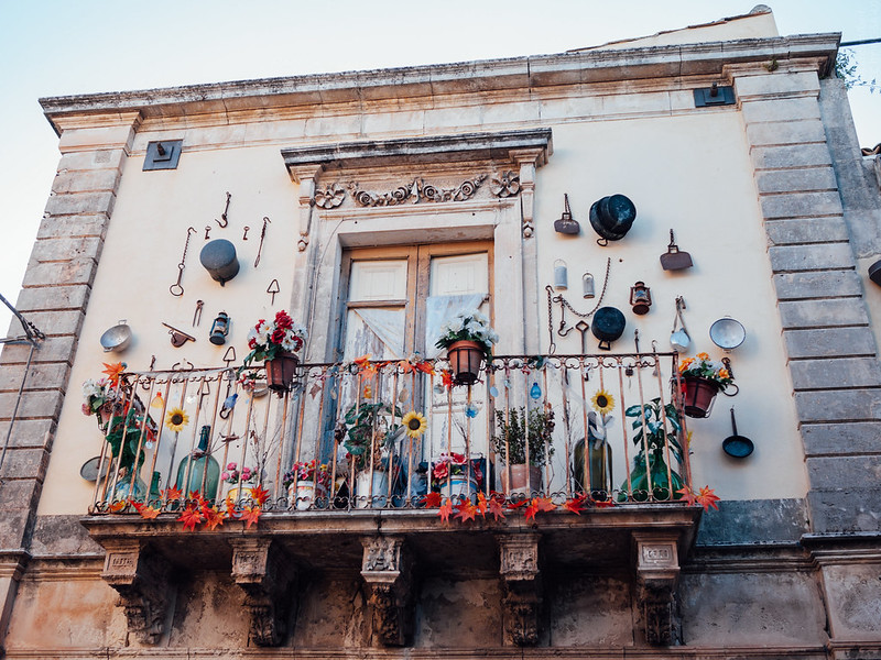 A nice balcony with cookware and other stuff