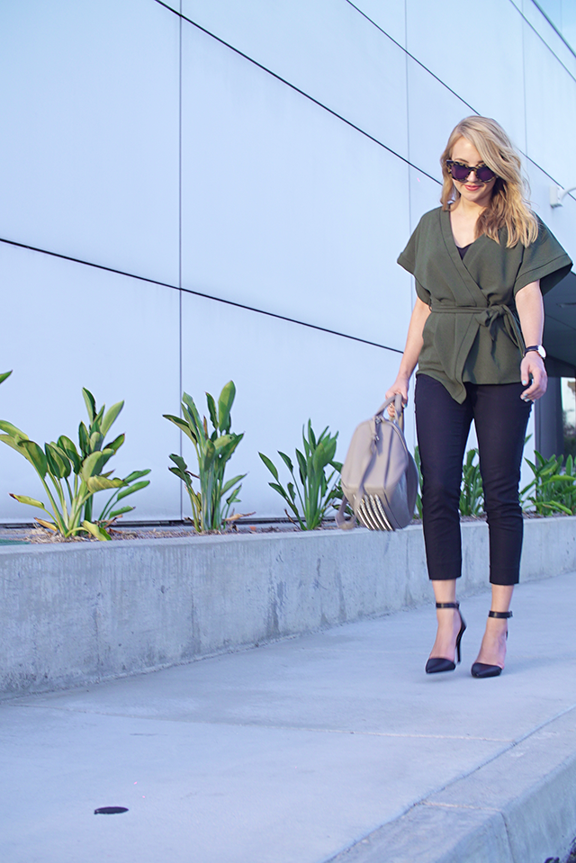green kimono, asos green kimono, asos olive green wrap blouse, olive wrap blouse, olive green blouse, work attire, chic work attire, fashionable work attire, office attire, feminine office attire