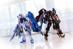 MetalBuild MBF-P01-Re2AMATU Gundam Astray Gold Frame Amatsu Mina Custom + ZGMF-X10A Freedom Gundam