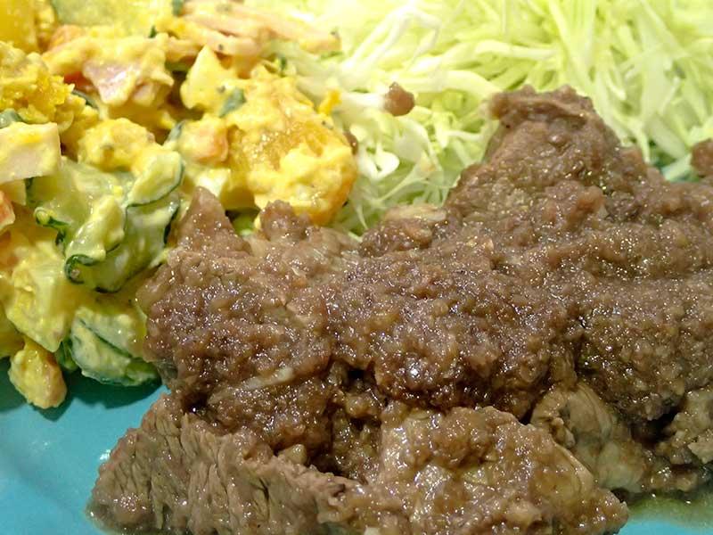 ステーキとポテトパンプキンサラダ