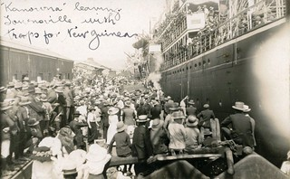 """Kanowna"" leaving Townsville with troops for New Guinea  - August 1914"