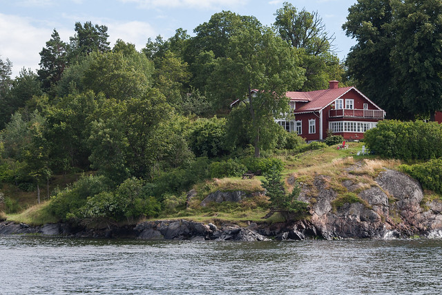 Red house on an island on Stockholm archipelago