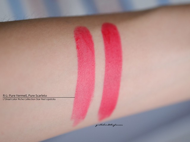 L'Oreal Color Riche Collection Star Matte Reds swatches