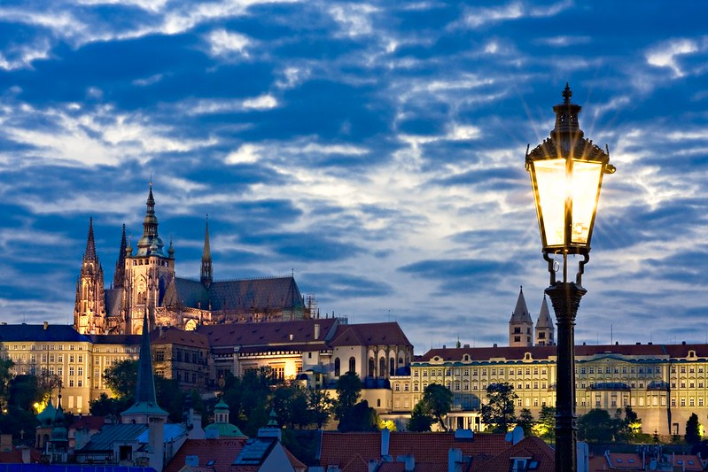 Prague Castle from Charles Bridge at Night