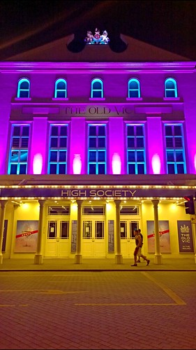 The Old Vic London theatre at night