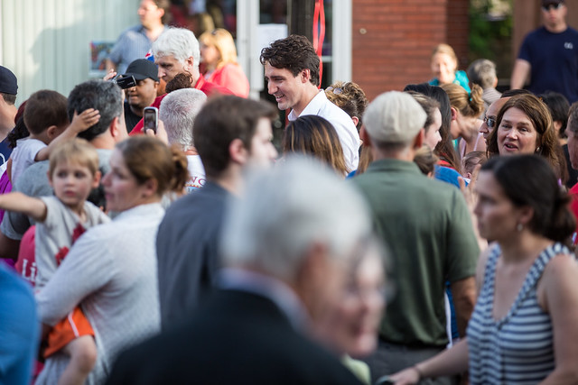 Justin Trudeau and Jane Philpott meet constituents in Stoufville. June 18, 2015