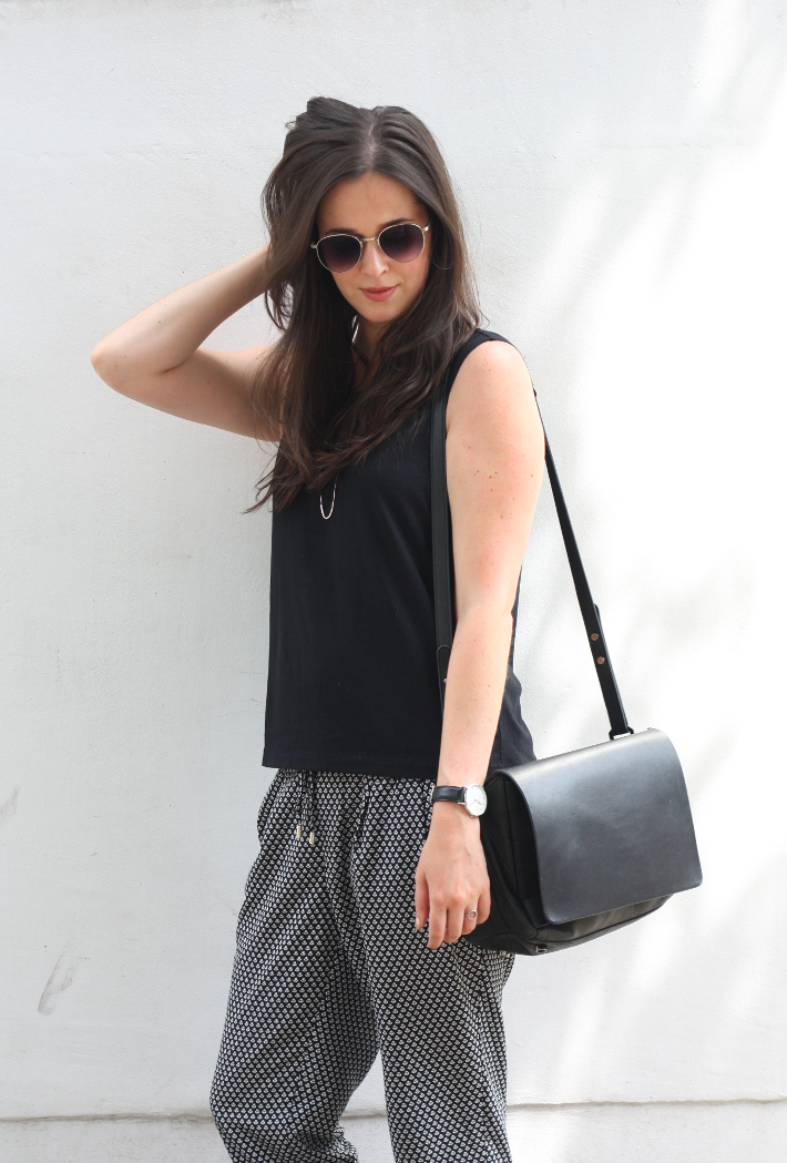 outfit: professional in relaxed printed trousers and shell top